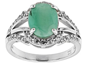 Green Emerald Rhodium Over Sterling Silver Ring 1.95ctw