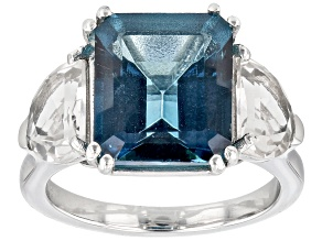 London Blue Topaz Rhodium Over Sterling Silver Ring 9.45ctw