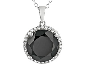 Black Spinel Rhodium Over Sterling Silver Pendant With Chain 7.63ctw