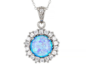 Blue Lab Created Opal Rhodium Over Sterling Silver Pendant With Chain.