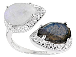 White Rainbow Moonstone Sterling Silver Bypass Ring