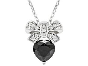Black Spinel Rhodium Over Silver Pendant Chain 0.77ctw