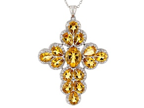 Citrine Rhodium Over Sterling Silver Pendant With Chain 13.32ctw