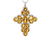 Citrine Rhodium Over Sterling Silver Pendant W/ Chain 13.32ctw