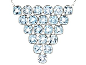 Blue Topaz Rhodium Over Sterling Silver Necklace 22.00ctw