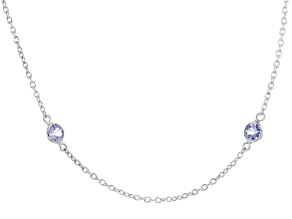 Blue Tanzanite Rhodium Over Sterling Silver Necklace 1.80ctw