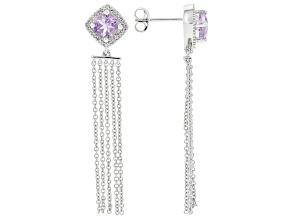 Lavender Amethyst Rhodium Over Sterling Silver Earrings 1.57ctw