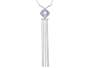 Lavender Amethyst Rhodium Over Silver Necklace 1.24ctw
