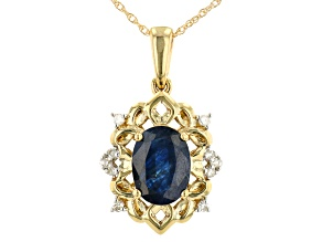 Blue Sapphire 10k Yellow Gold Pendant With Chain 1.35ctw