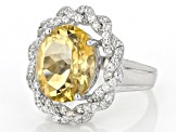 Citrine Rhodium Over Sterling Silver Ring 6.56ctw