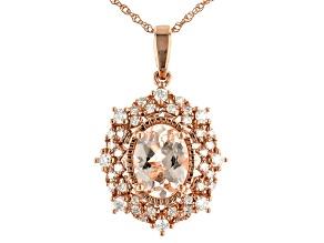 Peach Morganite 10k Rose Gold Pendant Chain 1.10ctw