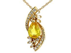 Yellow Sapphire 10k Yellow Gold Pendant Chain 0.80ctw