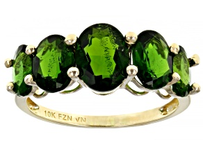 Green Russian Chrome Diopside 10K Yellow Gold Graduated 5- Stone Ring. 3.75ctw