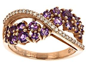 Purple Amethyst 10k Rose Gold Ring 0.70ctw