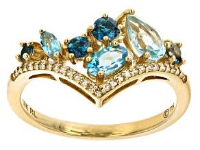 Blue Topaz 10k Yellow Gold Ring 1.28ctw
