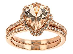 Peach Morganite 14k Rose Gold Ring Set 2.25ctw