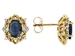Blue Sapphire 10k Yellow Gold Earrings 1.86ctw