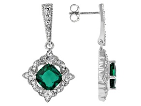 Green Lab Created Emerald Rhodium Over Sterling Silver Earrings 3.58ctw