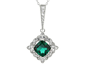 Green Lab Created Emerald Rhodium Over Silver Pendant With Chain 2.66ctw