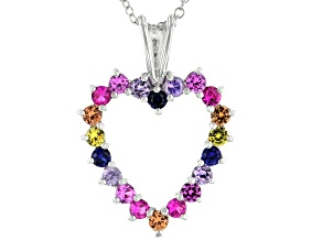Multicolor Lab Created Sapphire Rhodium Over Silver Heart Pendant With Chain 1.37ctw