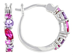 Multi Color Lab Created Sapphire Rhodium Over Sterling Silver Hoop Earrings 0.78ctw