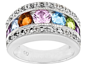 Swiss Blue Topaz Rhodium Over Sterling Silver Band Ring 1.93ctw