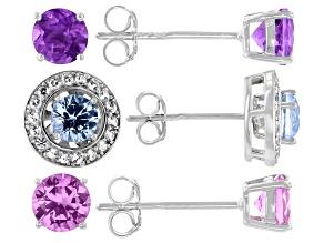 Purple Amethyst Rhodium Over Sterling Silver Earrings Set 3.88ctw