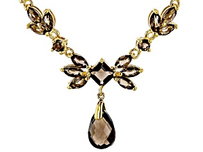 Brown Smoky Quartz 18K Yellow Gold Over Sterling Silver Necklace 7.57ctw