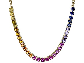 Multicolor Lab Created Sapphire 18k Yellow Gold Over Sterling Silver Necklace 9.94ctw