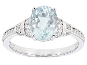 Aquamarine Rhodium Over Sterling Silver Ring 1.92ctw
