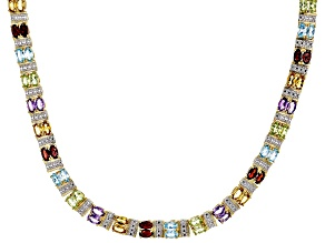 Blue Topaz 18k Yellow Gold Over Silver Two-Tone Necklace 17.27ctw