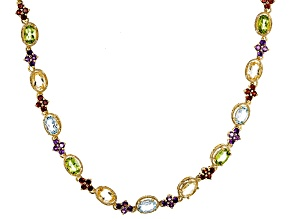 Blue Topaz 18K Yellow Gold Over Sterling Silver Necklace 13.75ctw