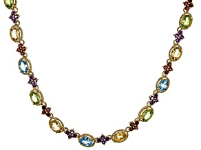 Blue Topaz  18k Yellow Gold Over Sterling Silver Necklace 13.50ctw