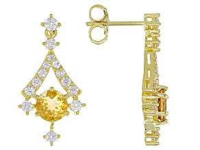 Yellow Citrine 18k Yellow Gold Over Sterling Silver Dangle Earrings 2.65ctw