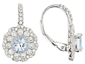 Aquamarine Rhodium Over Silver Dangle Earrings 3.30ctw