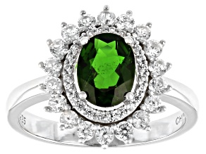 Green Chrome Diopside Rhodium Over Silver Ring 1.92ctw