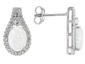 White Lab Created Opal Rhodium Over Silver Earrings 1.05ctw