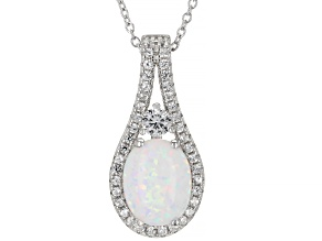 White Lab Created Opal Rhodium Over Silver Pendant With Chain 0.40ctw