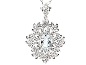 Aquamarine Rhodium Over Silver Snowflake Pendant W/ Chain 2.97ctw