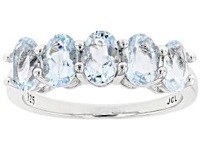 Blue Aquamarine Rhodium Over Sterling Silver 5-Stone Ring 2.30ctw