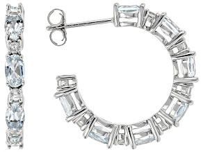 Blue Aquamarine Rhodium Over Sterling Silver Hoop Earrings 3.94ctw