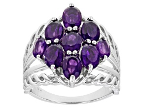 Purple Amethyst Rhodium Over Sterling Silver Ring 2.85ctw