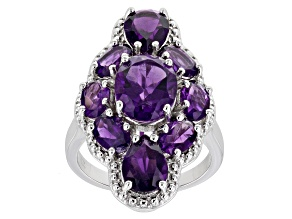 Purple Amethyst Rhodium Over Sterling Silver Ring 5.50ctw