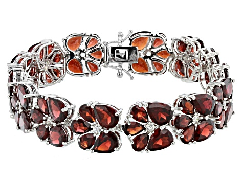 Garnet Rhodium Over Sterling Silver Bracelet 45.80ctw