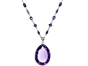 Purple Amethyst Rhodium Over Sterling Silver Necklace 43.10ctw