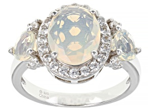 White Ethiopian Opal Rhodium Over Sterling Silver Ring 1.60ctw