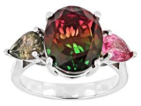Bi-Color Quartz Doublet Rhodium Over Sterling Silver Ring 0.85ctw