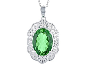 Green Color Quartz Doublet Rhodium Over Brass Sterling Silver With Chain