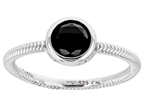 Black Spinel Rhodium Over Sterling Silver Solitaire Ring 1.17ct