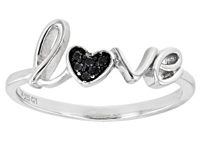 Black Spinel Rhodium Over Sterling Silver Love Ring 0.04ctw